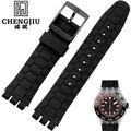 Rubber Watch Band For Swatch Summer Diving Watchbands Sport Watches Strap Men Business Wear Watch Belt Flexible Band 21mm Width