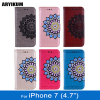 ARYIKUM Mandala Case For Coque Apple iPhone 7 Glitter Flower Silicone Wallet Phone Accessories Back Cover For iPhone7 Capinhas
