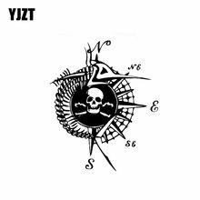 YJZT 15.8CM * 19CM Bone Skull kompas winylowa tablica naścienna osobowość wystrój samochodu naklejki czarny/srebrny C10-01780