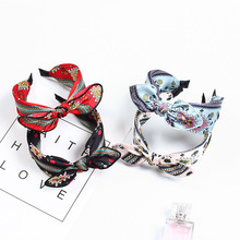 Colorful Satin Bow Flower Headbands For Women Leopard Hairbands knot Headband Korea Hair Accessories Girls