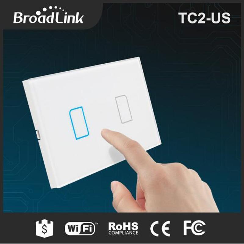 Broadlink TC2 US Standard 2 gang Mobile kaugjuhtimispuldi valguslambid seina lüliti Broadlink RM RM2 pro kaudu, Crystal Glass Panel
