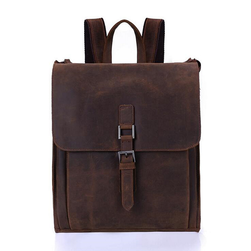 New 2017 Large Capacity Real Genuine Leather Men Backpacks Cowhide 15.6'' Laptop Man Travel Bags Brand School Bag Dark Brown zooler genuine leather backpacks 2016 new real leather backpack for men famous brand china hot large capacity hot 65055
