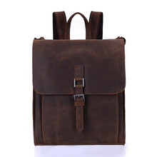 """New 2017 Large Capacity Real Genuine Leather Men Backpacks Cowhide 15.6"""" Laptop Man Travel Bags Brand School Bag Dark Brown"""