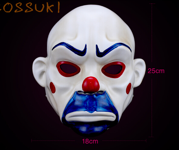 Free Shipping! Halloween High Quality Batman The Dark Knight 1:1 Clown Robbers Joker Mask Cosplay Props for Masquerade Party