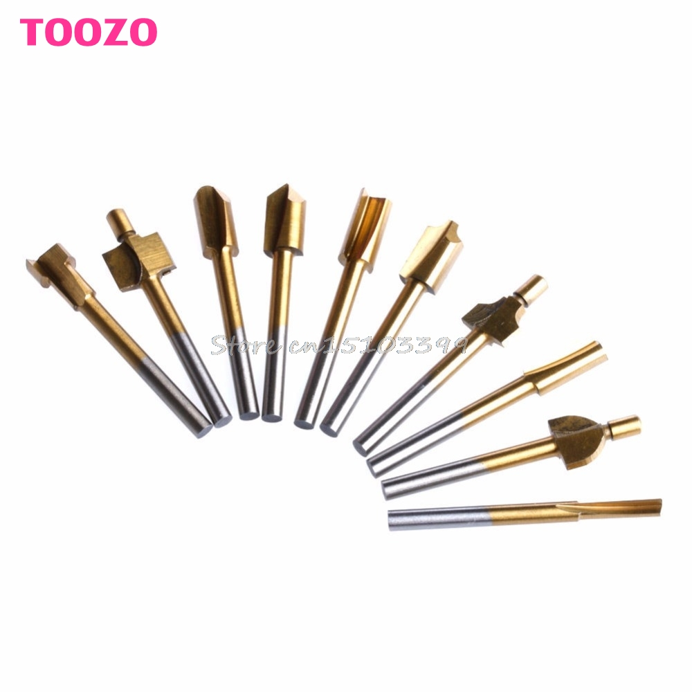 10Pcs Titanium Mini Hss Router Bits Trimmer Shank Dremel 1/8 3mm For Rotary Tool G08 Drop ship 1 8 shank hss titanium router bits fit dremel foredom rotary tool set 10pcs