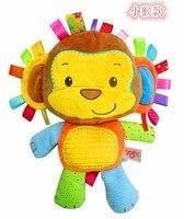 Candice guo! Sıcak satış sevimli hayvan renkli mutlu maymun bebek oyuncak çıngırak yumuşak peluş yatıştırmak oyuncak 1 adet
