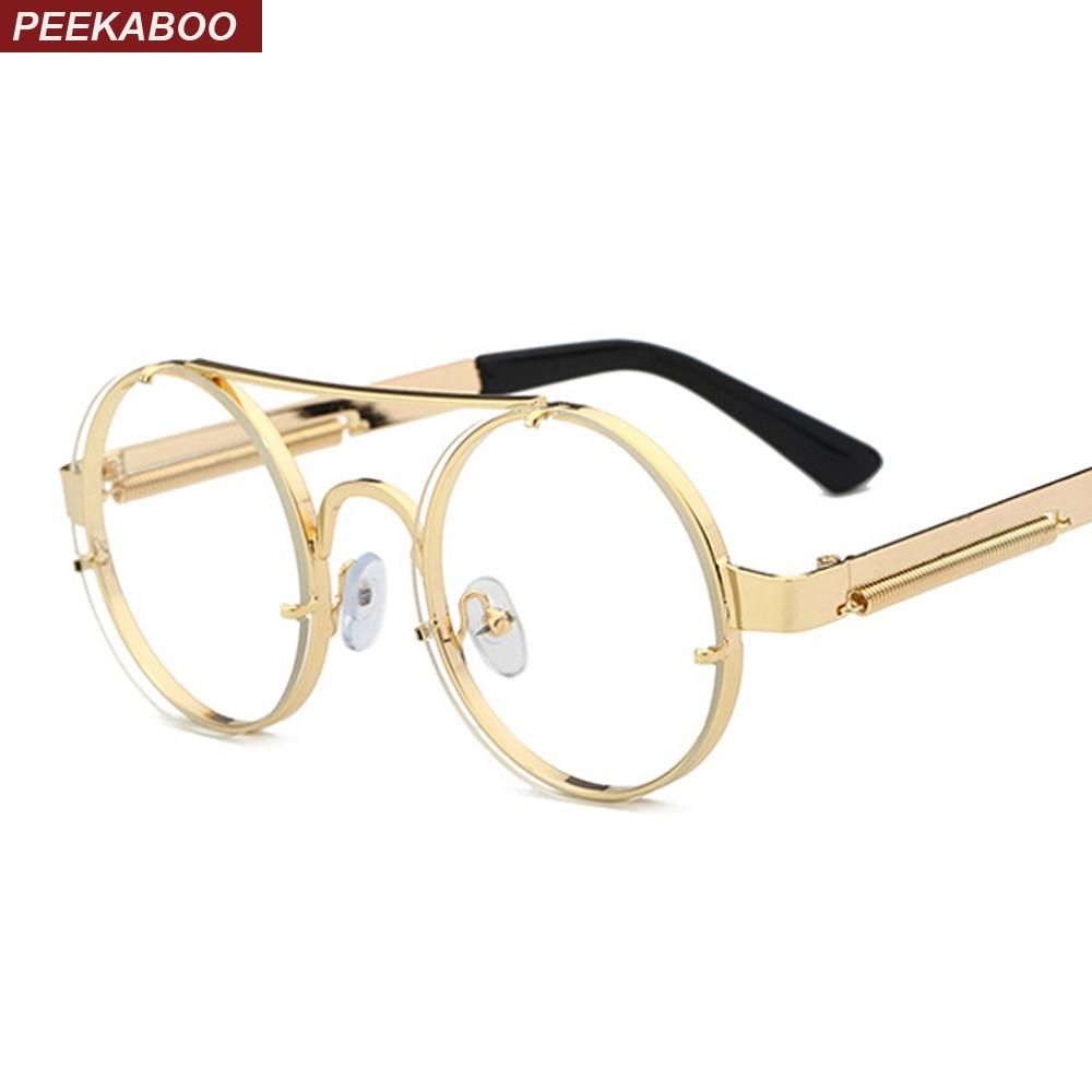 Peekaboo Round Eyewear Frames Men Vintage Gold 2018 Flat Top Retro Round Metal Frame Clear Lens Glasses Women Frame