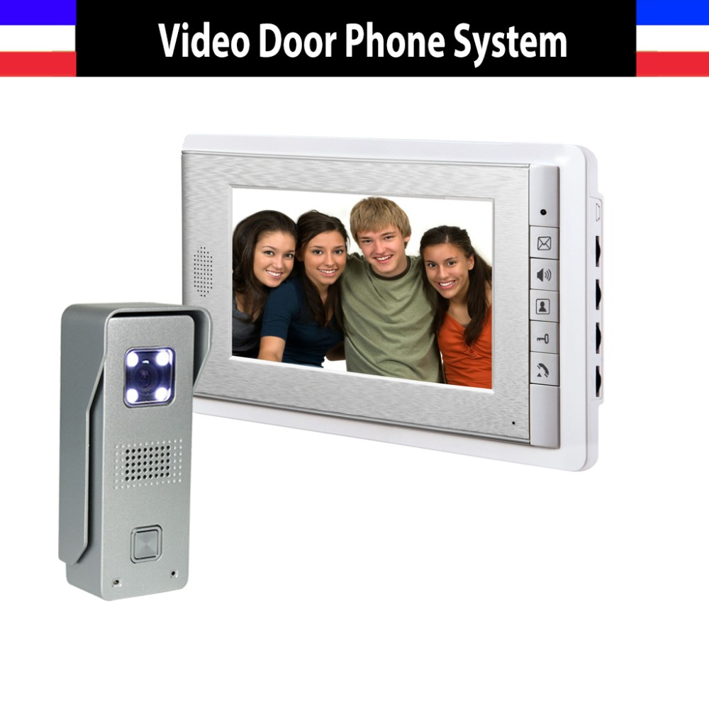 New 7 Inch Lcd video Door Phone Doorbell Intercom System Night Vision Video Door Bell Waterproof Video Doorphone Intercom 7 inch tft touch screen lcd color video door phone doorbell wall mounted intercom system night vision eye camera doorphone