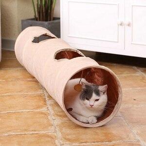 Image 2 - Lange Pet Tunnel Hohe Qualität 120 cm 2 Löcher Faltbare Katze Welpen Kaninchen Teaser Lustige Verstecken Tunnel Spielzeug Ball Faltbare katze Tunnel
