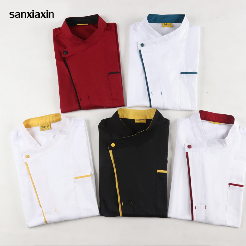 Unisex Restaurant Kitchen Chef Uniform Short Sleeve Shirt Breathable Double Breasted Chef Jacket+cap+apron Works Clothes For Men