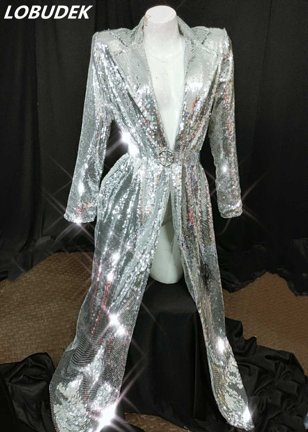 Fashion Buttonless Women Shiny Sequins Long Coat Female Singer Nightclub Concert Stage Performance Silver Cloak Dance
