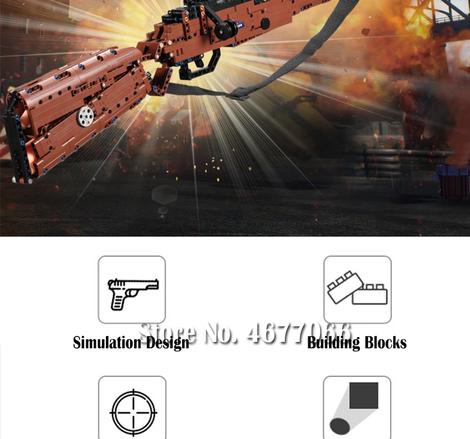 cada building blocks technic gun toy models & building toy gun model 98k bricks educational toys for children ww2 toys for kids 80
