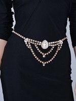 Vintage Women Drop Design Back Clasp Stretch Metal Waist Belt Skinny Elastic Cinturon Ceinture Femme Gold