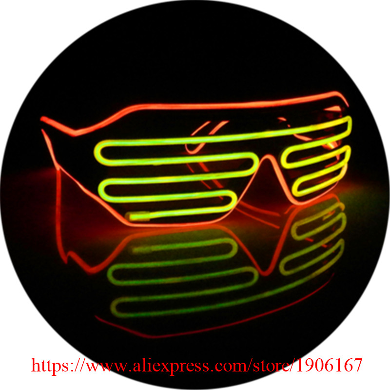 Double Color Led Luminous Party Glasses Light Up EL Wire Glasses Classic Gift DJ Club Stage Show Flashing Eyewear 5 Pcs/Lot