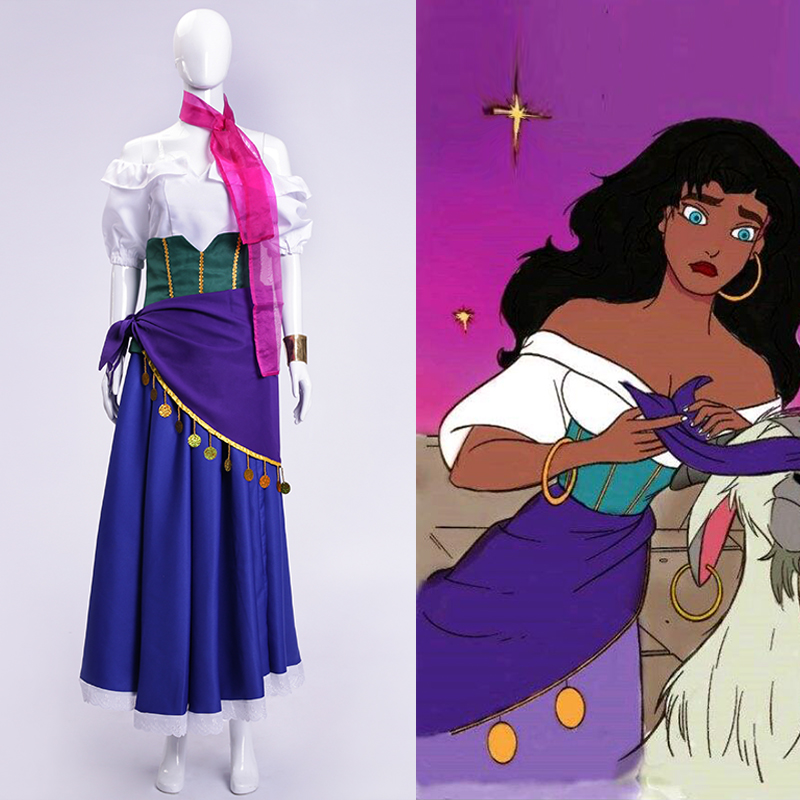 The Hunchback of Notre Dame Esmeralda Cosplay Costume Purple Blue Party Dress