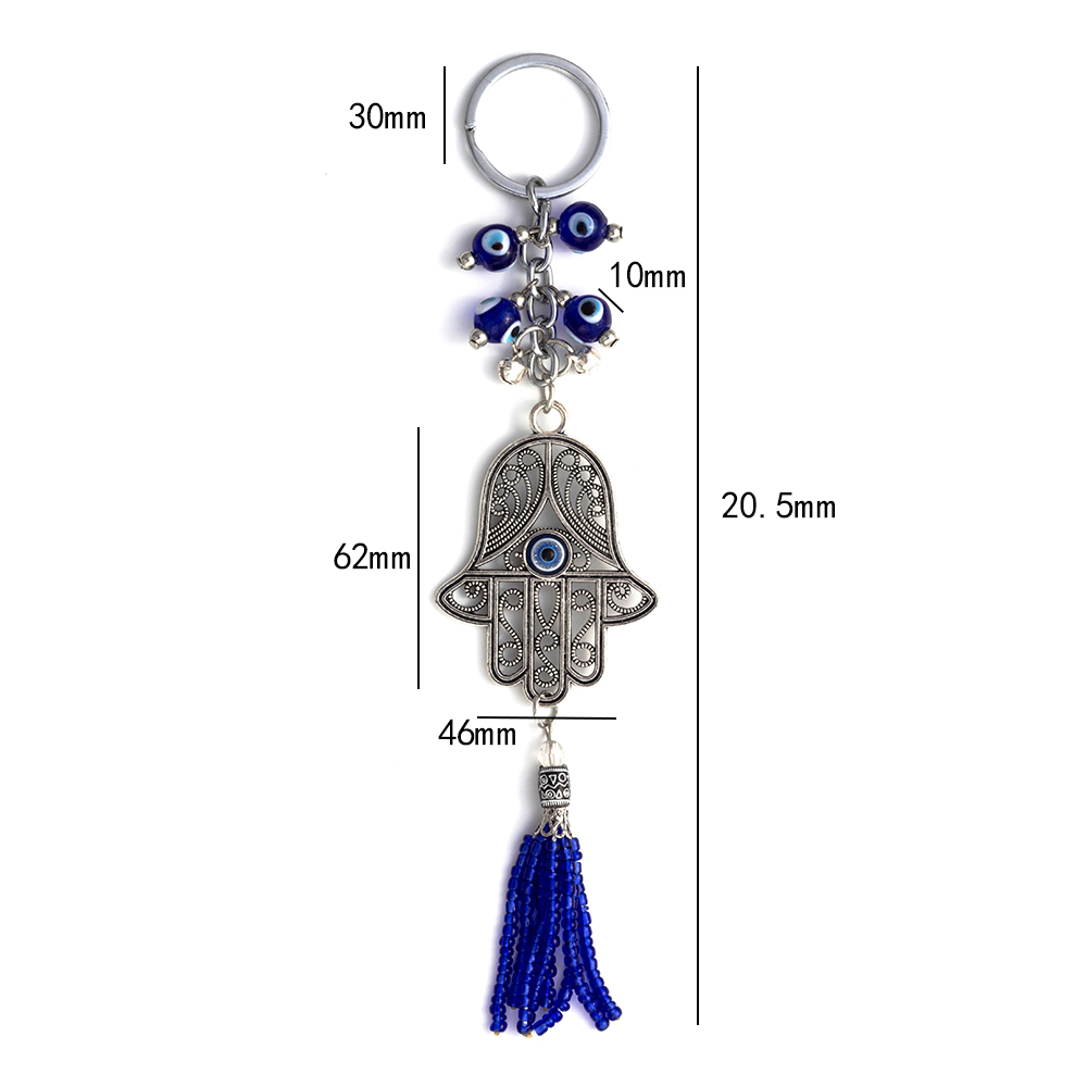 Lucky Eye Hamsa Sleutelhanger Tassel Muur Opknoping Boze Oog Amulet - Mode-sieraden - Foto 3