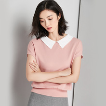 womens top short sleeve Turn-down Collar tshirt  all match tee Gauze material t shirt women clothings