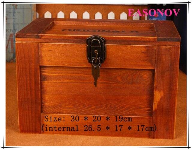 30 * 20 * 19cm large storage lockbox Organizer Wooden storage box Free Shipping & 30 * 20 * 19cm large storage lockbox Organizer Wooden storage box ...