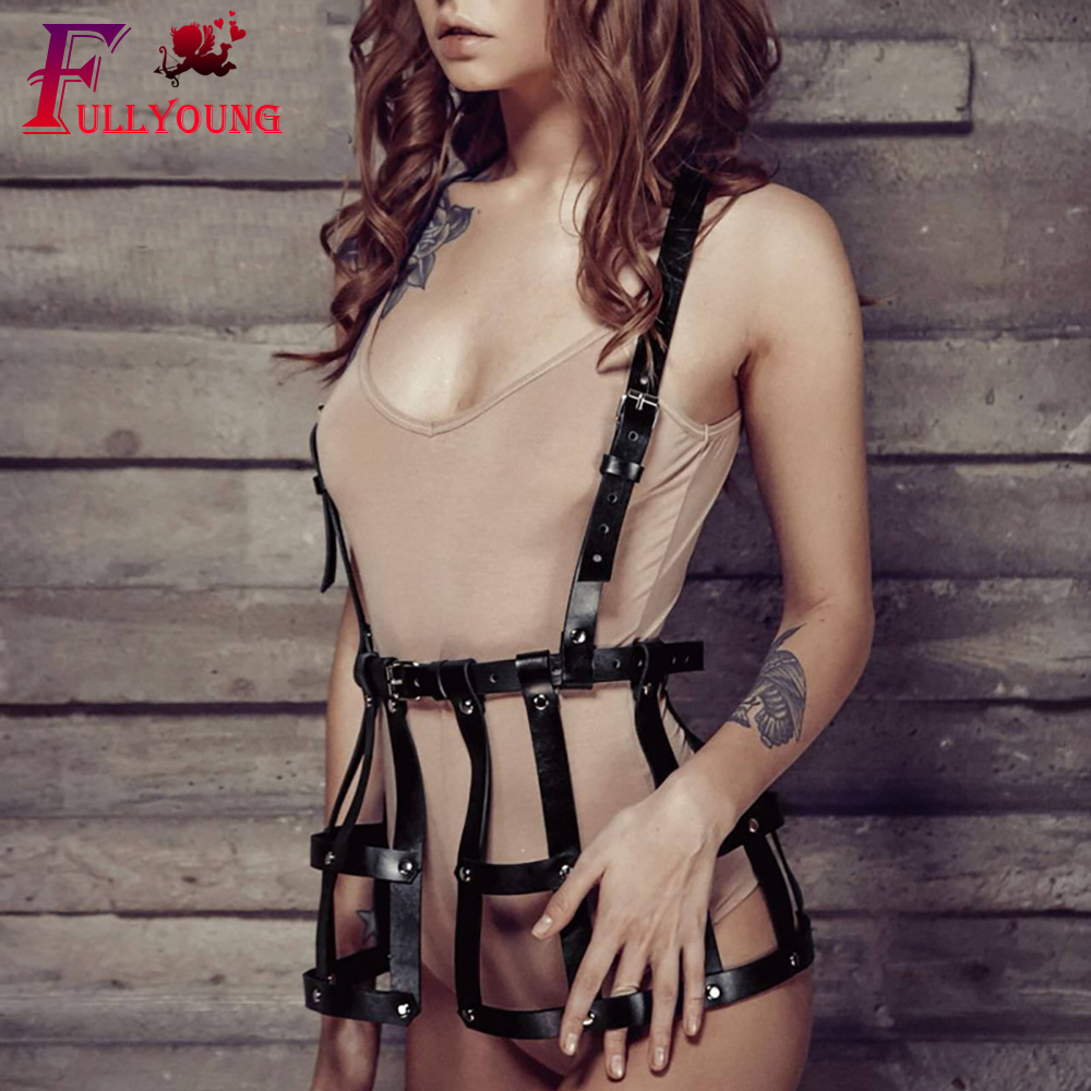 Fullyoung Leather Harness Bondage Dres Body Belt Punk Suspenders Straps Women PU