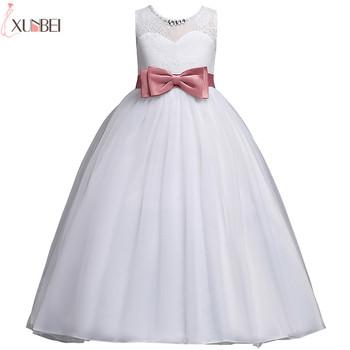 Kwiat biały sukienki dla dziewczynek koronki 2020 suknia suknie na konkurs piękności dla dziewczynek z kokardą pierwsza komunia sukienki dla dzieci suknie balowe tanie i dobre opinie xunbei Kostek Suknia balowa O-neck Bez rękawów Tulle Frezowanie Łuk MC1701 Flower girl dresses REGULAR Standard US Child Size 4Y-14Y