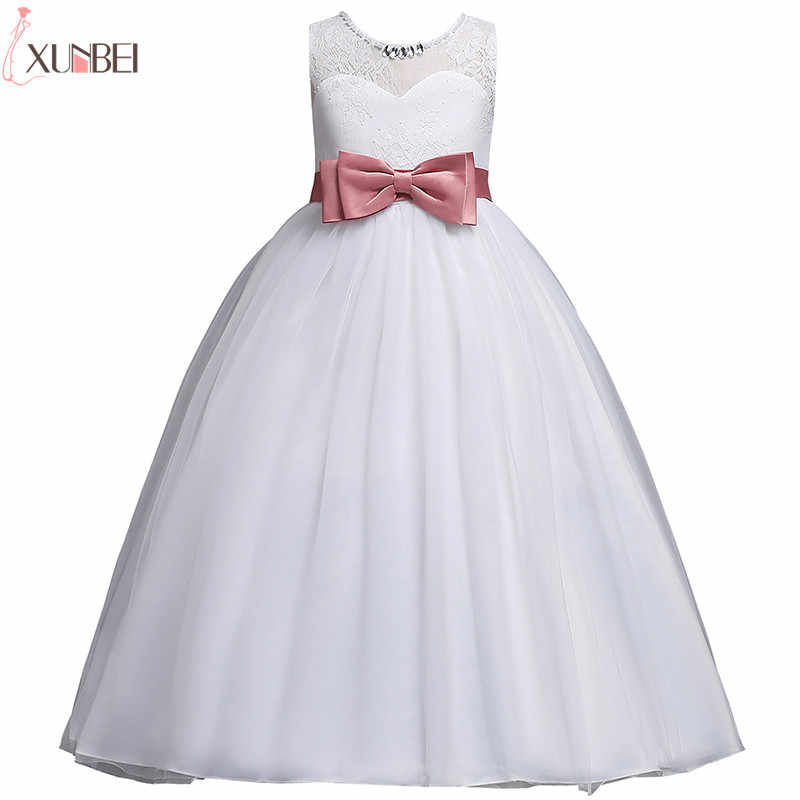 fde3a2045b Detail Feedback Questions about White Flower Girl Dresses Lace 2019 Ball  Gown Pageant Dresses For Girls With Bow First Communion Dresses Kids Prom  Dresses ...