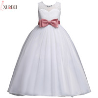 White Flower Girl Dresses Lace 2020 Ball Gown Pageant Dresses For Girls With Bow First Communion Dresses Kids Prom Dresses