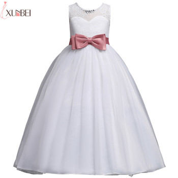 White Flower Girl Dresses Lace 2020 Ball Gown Pageant Dresses For Girls With Bow First Communion Dresses Kids Prom Dresses beautiful flower girl dresses lace 2019 appliqued ball gown pageant dresses for girls first communion dresses kids prom dresses