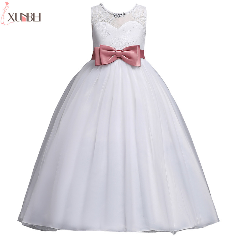 White   Flower     Girl     Dresses   Lace 2019 Ball Gown Pageant   Dresses   For   Girls   With Bow First Communion   Dresses   Kids Prom   Dresses