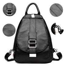 2019 New Women Leather Backpacks Vintage Shoulder Bag Winter Female Backpack Ladies Travel Backpack Mochila School Bags For Girl