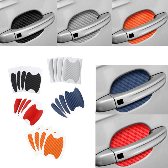 4pcs/lot Universal Carbon Fiber Auto Car Door Handle Stickers Car Handle Protection Car Handle Anti Scratch Stickers Car Styling