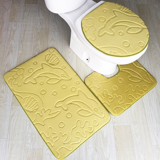 Zeegle 3pcs Bath Mat Dolphin Embossed Bathroom Rug Non Slip Bathtub Floor Mats