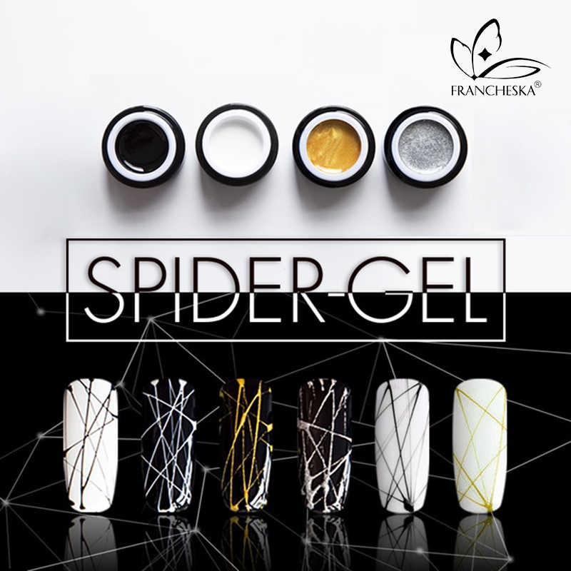 8 Ml Spider Gel Nail Art DIY Lukisan Rendam Off 3D Emboss UV Gambar Gel Polandia Line Sutra Point Kreatif menarik Kawat Spider Gel