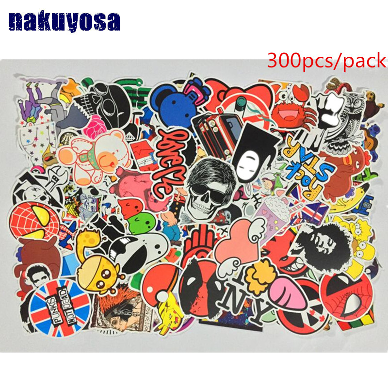 300pcs Mixed stickers Toy styling funny sticker Motorcycle Bike Travel Doodle accessory cover detector decal sticker no repeat