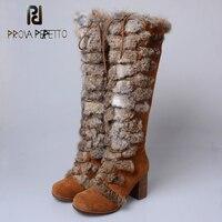 Prova Perfetto 2018 Новый Для женщин сапоги до колена женские Натуральный мех зимние теплые зимние ботинки обувь на высоком квадратном каблуке женс