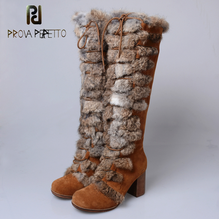 Prova Perfetto 2018 New Women Knee High Boots Female Real Fur Winter Warm Snow Boot Square High Heel Shoes Woman Botas Mujer prova perfetto winter women warm snow boots buckle straps genuine leather round toe low heel fur boots mid calf botas mujer