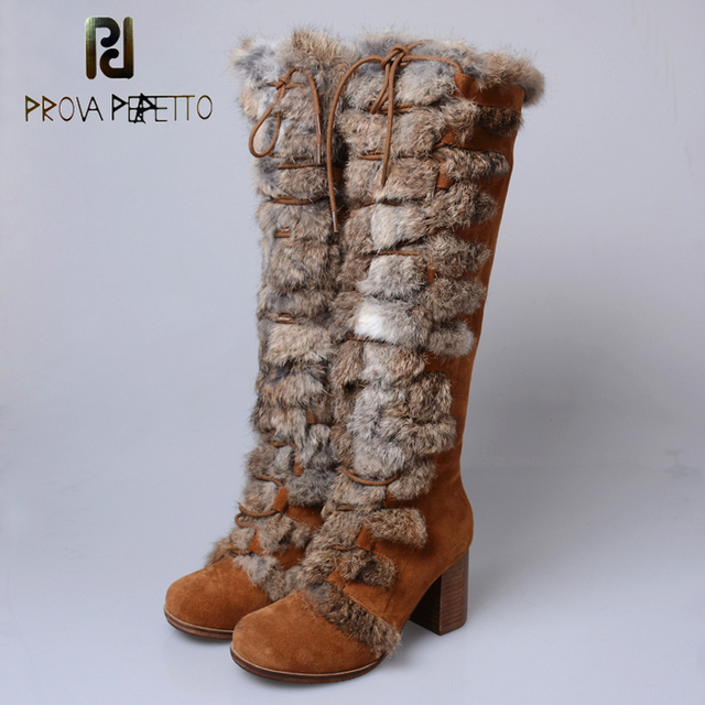 Prova Perfetto 2018 New Women Knee High Boots Female Real Fur Winter Warm Snow Boot Square High Heel Shoes Woman Botas Mujer