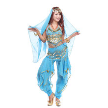 2016 Oriental Bollywood Indian Dress 3PCS Pants&Hip Scarf Belt&Top Belly Dance Costume Set Chiffon Vestidos Phnom Penh Bloomers