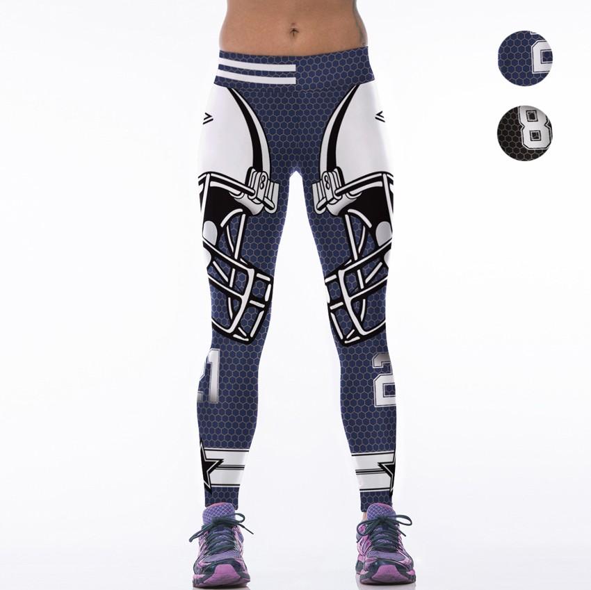 5127abb15ae ... Woman Yoga Pants Fitness Fiber Sport Dallas Cowboys Leggings Sports  Tights Trousers Exercise Training Gym Clothing ...