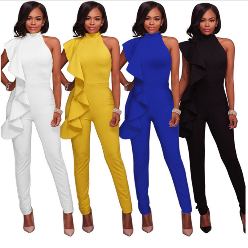 Elegant Ruffles Women Jumpsuits 2018 Summer Sleeveless Black Blue White Long Pencil Pant Bodycon Tunic Bandage Rompers Overalls