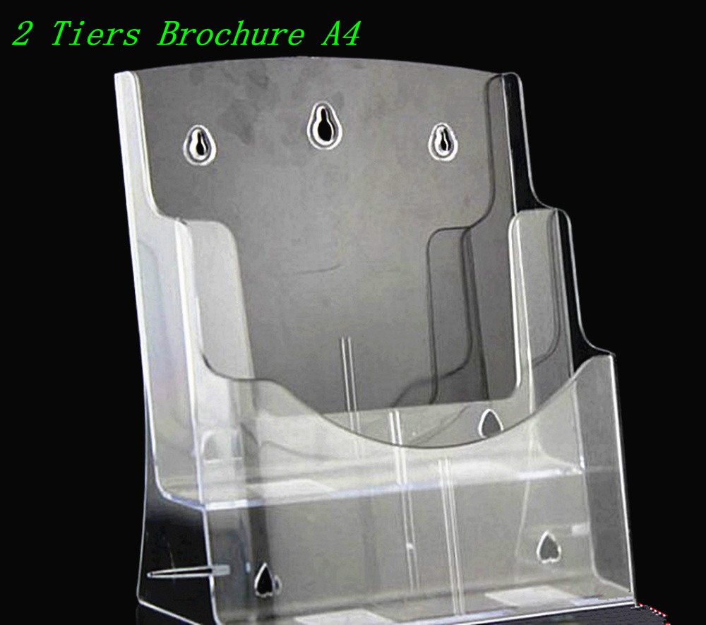 Clear A4 2 Tiers Plastic Acrylic Brochure Literature Pamphlet Display Holder Racks Stand to Insert Leaflet Desktop clear 2pcs a5 3 tiers plastic brochure literature pamphlet display holder racks stand to insert leaflet on desktop