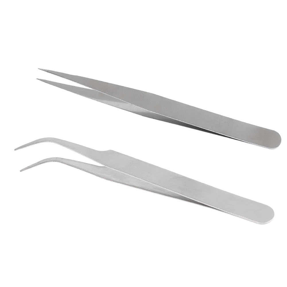 2PC Nail Art Multi-functionele Precisie Pincet Rvs Anti Statische Kit Nail Manicure Beauty Tools Recht/ bocht