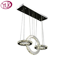 Youlaike Modern LED Chandelier 3 Rings Kitchen Crystal Lamps Rectangle Hanging Lighting Fixtures Dining Room Cristal
