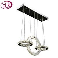 Youlaike Modern LED Chandelier 3 Rings Kitchen Crystal Lamps Rectangle Hanging Lighting Fixtures Dining Room Cristal
