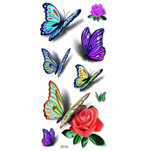 3D Colorful Waterproof Body Lip Art Sleeve DIY Stickers Women's Glitter Temporary Tattoos Mini Rose Flower Butterfly 20*10cm