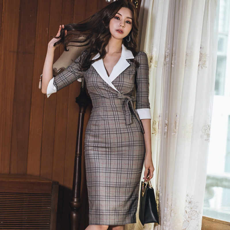 Herfst Notched Vintage Plaid Vestidos Strik Half Mouw Knie-Lengte Bodycon Potlood Office Werk Doek Jurk
