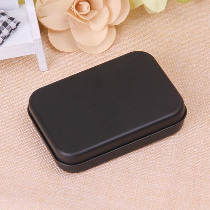 100pcs Mini Tin Gift Box Small Empty Black Metal Storage Box Case Organizer For Money Coin