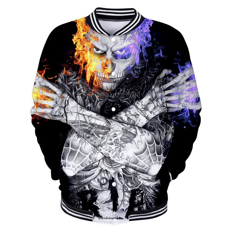 Funny Print Rick Genest 3D Baseball Jacket Autumn Women/Men Fashion Zombie Boy Coats Casual Jacket Popular Top Clothes 4XL