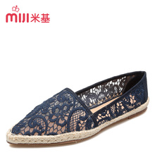 MiJi women's Breathable espadrilles Flats shoes pionty toe lace sandals slip-on loafer for woman 2016 new summer fashion MX-87