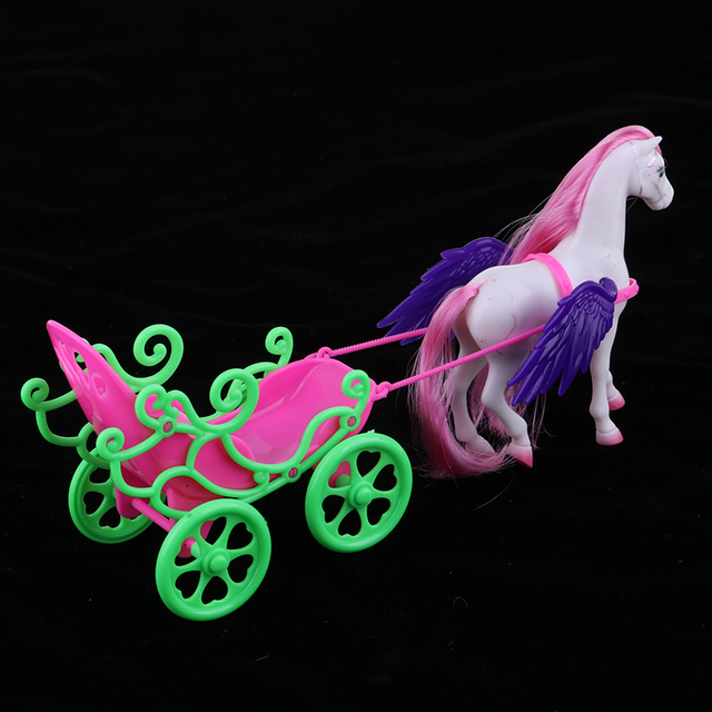1/6 Princess Doll Playset Horse with Wing Carriage Kids Play House Toy Accessories 6