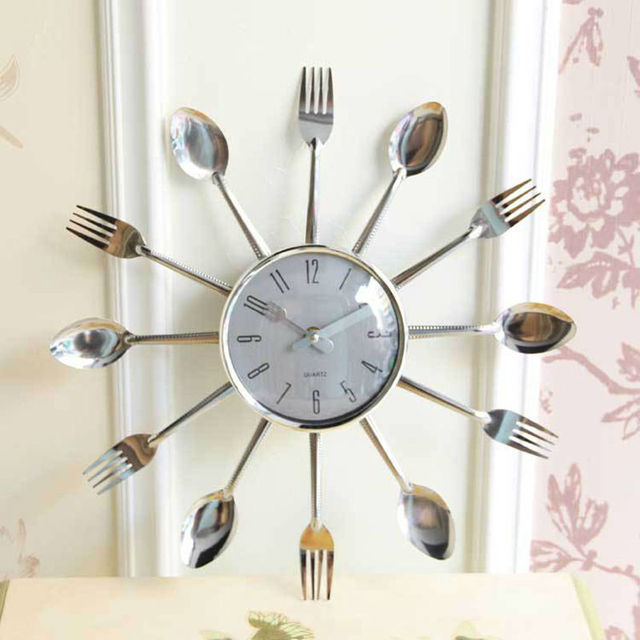 online shop hot sale creative design wall clock art spoon and fork